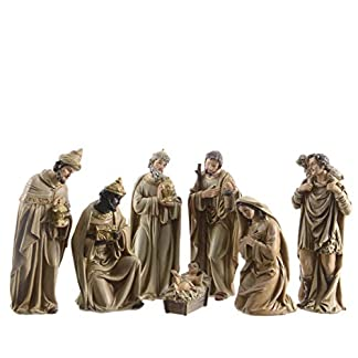 Kaemink – Juego de 7 Figuras navideñas (poliresina, 12 cm), Color Dorado