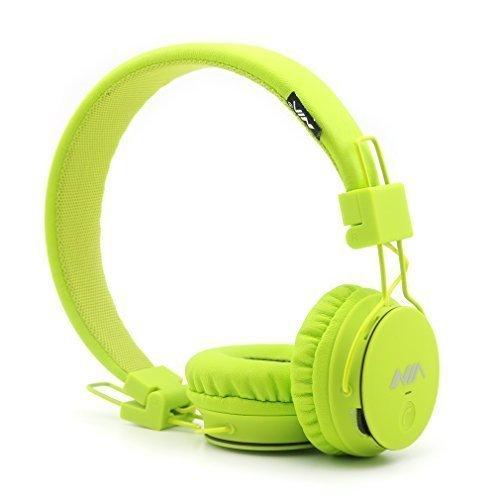 GranVela® X2 pieghevole Over-Ear wireless Bluetooth di sostegno micro SD Card Player, Radio FM con microfono incorporato chiede bambini Auricolari, regalo, Smartphone (limone verde)