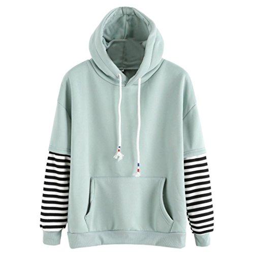 Damen Tops Sweatshirt Stilvoll Kapuzenpullover Sannysis Frauen Langarm Gestreift Kapuzenjacke Sweatshirt Kapuzenpulli Bluse (XL, Grün) (Langarm-henley Brusttasche)