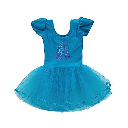 Lazzboy Karneval Kostüme Kleinkind Mädchen Gaze Trikot Ballett Body Dancewear Kleid Kleidung Outfits(Höhe120,Blau)
