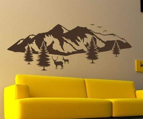 Wandtattoo Berge Skyline Schnee Alpen Tanne Elch Aufkleber Berg Landschaft 1M208, Farbe:Schwarz Matt;Größe ( Länge):160 cm -