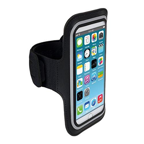 Galleria fotografica kwmobile fascia da braccio sportiva per Apple iPhone 6 Plus / 6S Plus - jogging corsa borsa da sport fascia fitness con scomparto per chiavi nella fascia da braccio in nero
