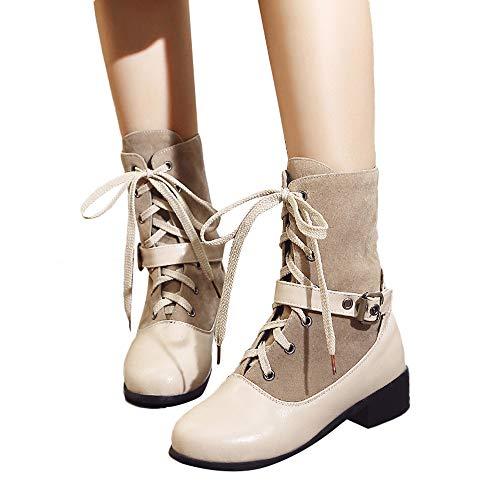 TianWlio Boots Stiefel Schuhe Stiefeletten Frauen Herbst Winter Freizeit Schnalle Flache Dicke Ferse Schuhe Einfarbig Kurze Schlauchstiefel...