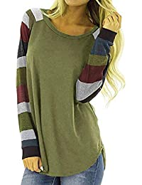 Mujeres Suelto Jersey Suéter Pullover Cárdigan Striped Camiseta Cuello Redondo con Manga Larga Sudadera Cardigan Casual