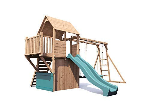 Wooden Playhouse Climbing Frame Childrens Outdoor Play Tower Monkey Bar Swing Set Club House - Dunster House� BalconyFort� Searcher