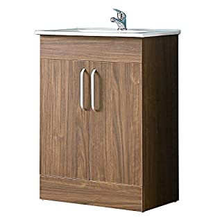 Aica 600mm Vanity Sink Unit Ceramic Basin,Walnut Effect Bathroom Storage Furniture with Doors