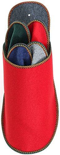 Gästepantoffelset Rot mit 4 Paar Gästepantoffel - Gästehausschuh Gäste Hausschuhe Filzpantoffel