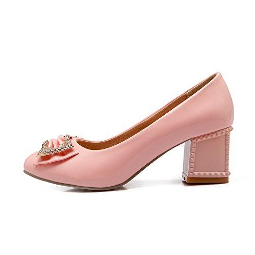 AllhqFashion Damen Ziehen Auf Pu Spitz Zehe Mittler Absatz Eingelegt Pumps Schuhe Pink