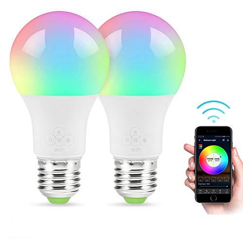 Google Magic (GULEHAY Intelligente WiFi-LED-Glühbirne, mehrfarbig, dimmbar, Fernbedienung, keine Kabel erforderlich, kompatibel mit Alexa und Google Assistant [4.5W])