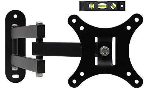 ECO-BEST(TM) 117S Solid Study Full Motion Articulating Swivel Tilting TV Wall Mount Bracket for VESA 100 12-24 LCD LED Flat Screen Monitors Display/TVs up to 30lbs Includes 6 Bubble Level