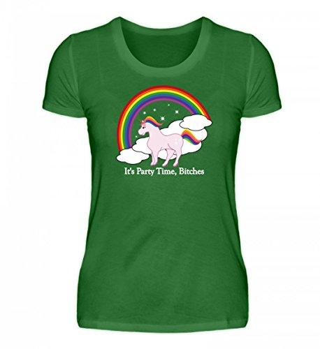 Shirtee Hochwertiges Damen Organic Shirt - Einhorn Party High Heels Kelly Green