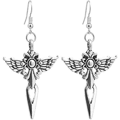 2LIVEfor orecchini in argento lunga da appendere ala cuff-daddy orecchini ali di angelo argento etnico orecchini Ornamente anticato Croce punta di freccia