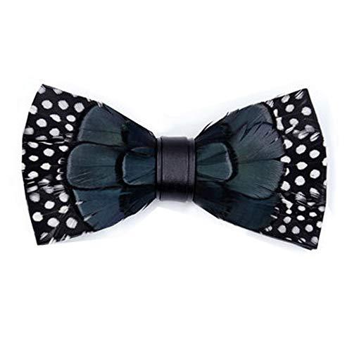 ysister Corbata de lazo de plumas naturales para hombre hecho a mano de gama alta corbata de lazo de rendimiento, recepción, banquete, cuello de flores, frente atado.