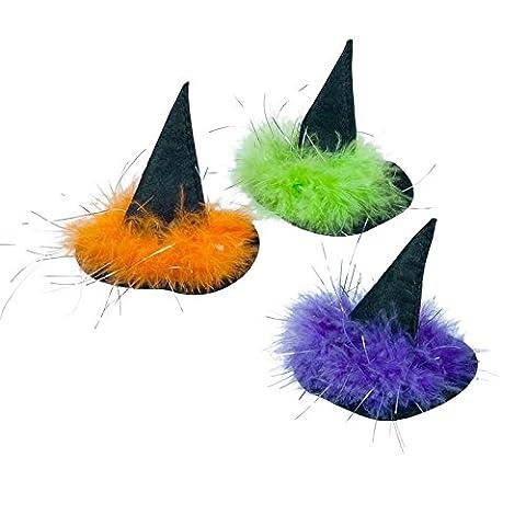 Haarklammer mit Hexenhut - Farben: orange, lila und grün - 3 Stück/Karte