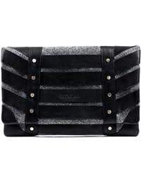 FEYNSINN pochette Sarah - grand - clutch - sac à main de soirée noir & feutre gris en feutre & cuir