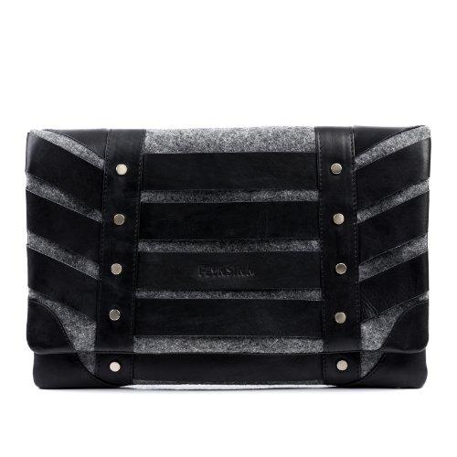 FEYNSINN Clutch Leder Sarah groß Unterarmtasche Damen Abendtasche Damen Tasche echte Ledertasche Damentasche schwarz