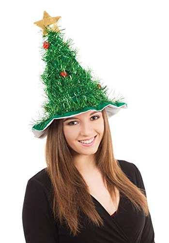 Bristol Novelty - Christmas Tree Tinsel Hat Green Red Baubles Gold Star Festive Headgear Adults Kids Fancy Dress Costume Accessory