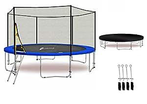 LS-T430-PA14 (B) LifeStyle ProAktiv - Trampoline de Jardin - 430 cm - 14ft - Extra Fort Filet de Sécurité - 180kg Capasite - TÜV/GS/CE