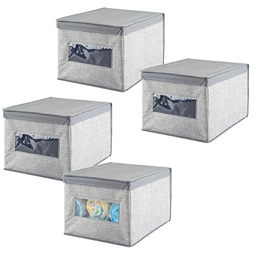 mDesign la boîte de rangement - le panier de rangement idéal pour ranger vos vêtements et comme rangement d'armoire - Set de 4 - Pratique bac de rangement avec le couvercle - couleur : gris