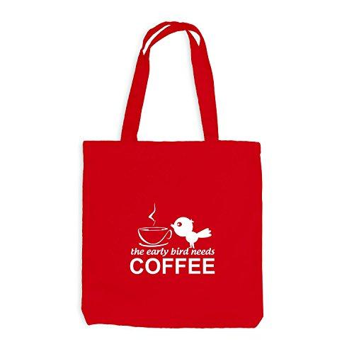 Sacchetto Di Iuta - Luccello Mattiniero Ha Bisogno Di Caffè - Caffè Rosso Per Gli Uccelli Mattinieri