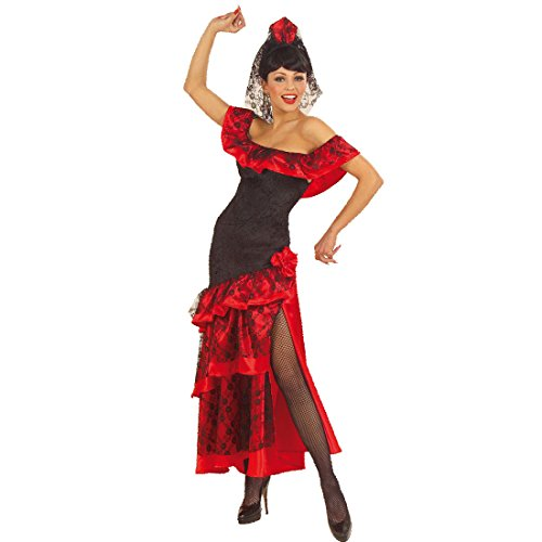 änzerin Kostüm Flamenco Kleid mit Schleier M 38/40 Spanierin Damenkostüm Tanzkleid mit Kopfschmuck Mexikanerin Faschingskostüm Sexy Karnevalskostüm Karneval Kostüme Damen ()