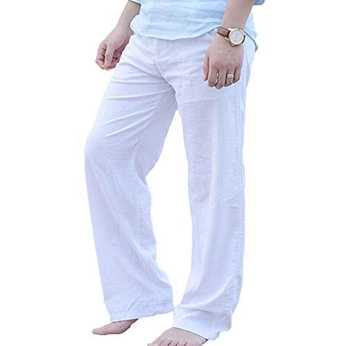 Homme Pantalon en Mélange Coton Lin Large Décontractéplage Été Léger Confortable Respira