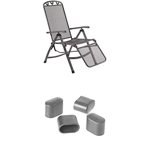 Greemotion Relaxsessel Toulouse eisengrau, Stuhl mit 5-fach Verstellung und Fußteil + Fußkappen...