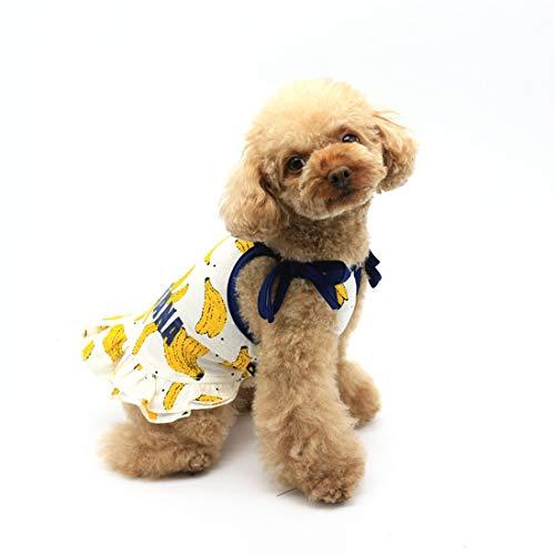 ock Kostüm Kleid Sommer Verstellbar für Hunde Katzen Welpen Gelb Banane M ()