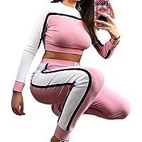 junkai Frauen Trainingsanzüge Hosenanzüge Langarm Elastische Taille Streifen-Side Drwastring Crop Tops Hosen Trainingsanzüge Zwei Stücke Sets S-XL
