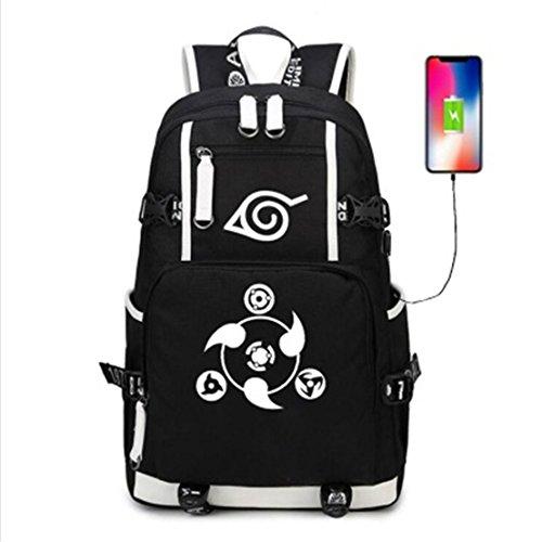 YOYOSHome Anime Naruto Cosplay Rucksack Daypack Bookbag Laptop Rucksack Schultasche mit USB-Ladeanschluss (Rucksack Bookbag)