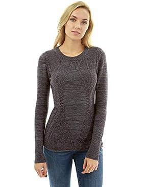 PattyBoutik Mujer suéter de Punto con Cuello Redondo y Mezcla de algodón