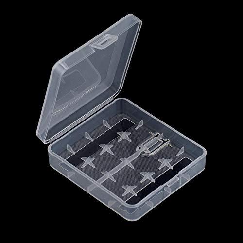 DinLgong Hartplastik-Aufbewahrungsbox-Etui für 4 x 18650-Batterien, Weiß Transparent (Bau Kostüm Zubehör)