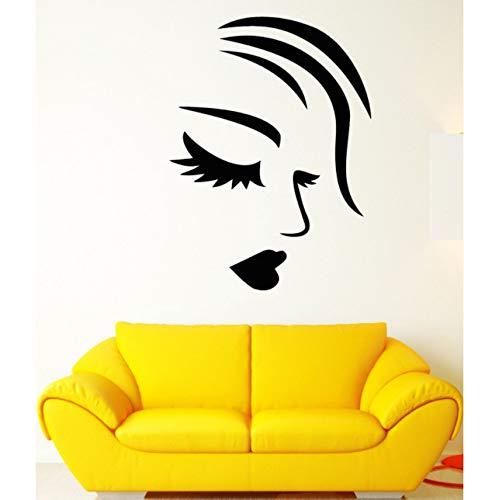 Hwhz 28 X 38 Cm Kunst Malerei Wandaufkleber Vinyl Wandtattoo Mädchen Gesicht Sexy Lippen Wimpern Fashion Make-Up Aufkleber