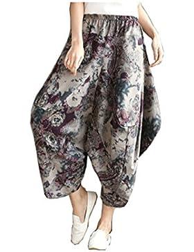 OKSakady Women Casual Lantern Harem Pants Elastic Waist Pantalones sueltos Fit