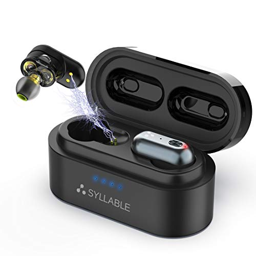 Bluetooth Kopfhörer SYLLABLE V5.0 Weltpremiere Qualcomm QCC3020 Chip Dual-Treiber Musik Sports 12Hrs IPX7 Headset mit Ladebox Mikrofonen, 3D Stereo Sound In-Ear Ohrhörer für iPhone, Android Dual-ear Headset