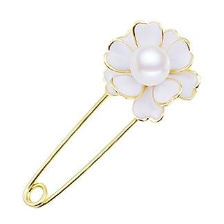 Broche Hebilla Flor de Camelia Blanca Perla Artificial Joyas Decorativos para Chal Mujer Moda