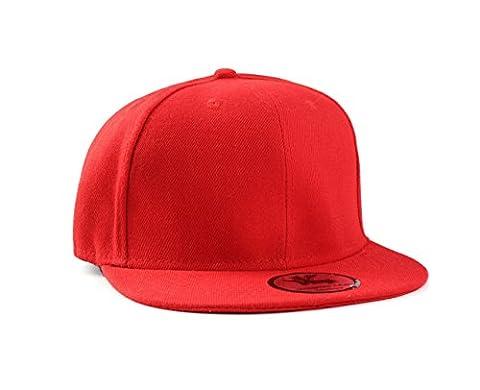 New Plain Red Flat Peak Fitted Baseball Cap 6