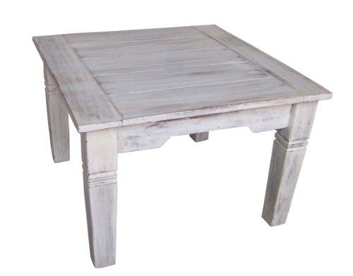 Guru-Shop Table Basse Carrée Antique Blanc, Teck, 40x60x60 cm, Tables Basses