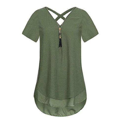Rovinci Damen Chiffon Bluse Ärmellos V Ausschnitt Reißverschluss Vorne zurück aushöhlen Tank Tops T-Shirt Frauen Sommer Elegant Weste Top Hemdbluse Unregelmäßigkeit Unterhemd (M, Armeegrün T-Shirt)