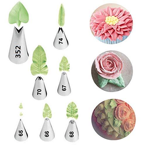 Kbstore 7 pezzi beccucci in acciaio per sac a poche - bocchette fiori pasticceria set per decorazione torte, cupcakes, biscotti, pasticcini #1