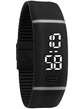 LHWY Womens Rubber LED Watch Date Sports Armband Digital Armbanduhr (Black)