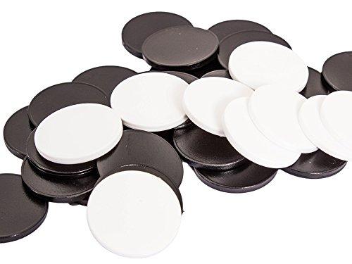 Schwarze und weiße Einkaufswagenchips einsetzbar als Spielgeld oder Spielmünzen, Größe wie 1-Euro-Münzen schwarz/weiss