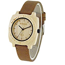 NectaRoy Unisex Handmade White Maple Wooden Wristwatch Japan Movement Quartz with Brown Leather Band Square Steel Buckle Casual Watches