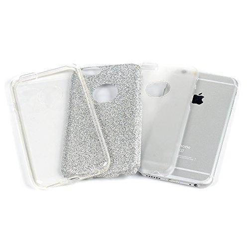 iPhone 6 6S Hülle Glitzer KASOS Handyhülle für iPhone 6 6S TPU Case Cover huelle mit 3 Schichten (Soft TPU + Glitzerfolie + Hard Inner ) Premium Bling Case Silikonhülle Design, Rosa Silber