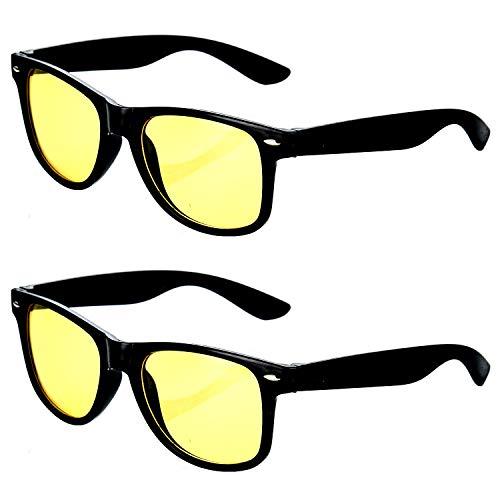 HAC24 2er Set Nachtfahrbrille im Retro-Look | Nachtsichtbrille Nachtbrille Sonnenbrille | Auto Motorrad | Kontrast Brille