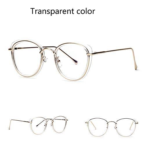 UICICI Katze Ohren halbe Metall große Brillengestell Optiacl Brillen, klare Linse für Frauen (Farbe : Clear)