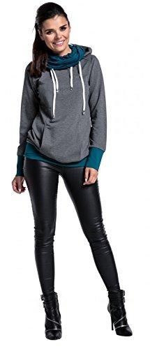 Zeta Ville - Damen Sweatshirt Kapuze Seitentaschen Langen Ärmeln - 340z Graphit Melange