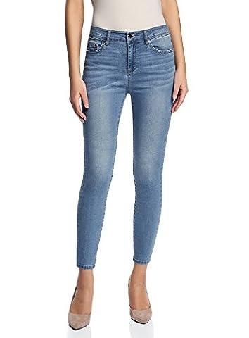 oodji Ultra Femme Jean Skinny à Taille Haute, Bleu, 30W / 32L (FR 44 / XL)