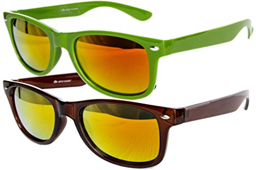 Ciffre 2 er Set EL-Sunprotect® Sonnenbrille Nerdbrille Brille Nerd Feuer Verspiegelt Grün + Braun