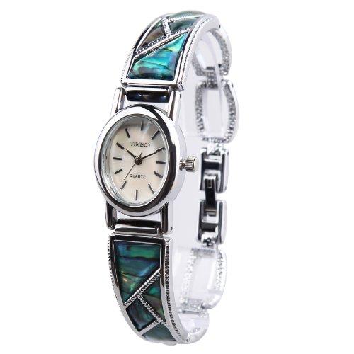 Time100 Orologio bracciale donna rigido in acciaio inox analogico intarsiato in Truchese, water resistant #W50129L.01A